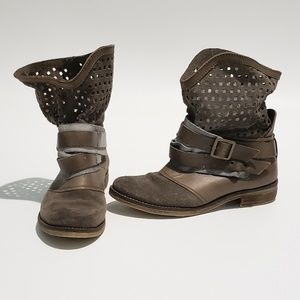 Matisse Suede Leather Perforated Strap Buckle Boot